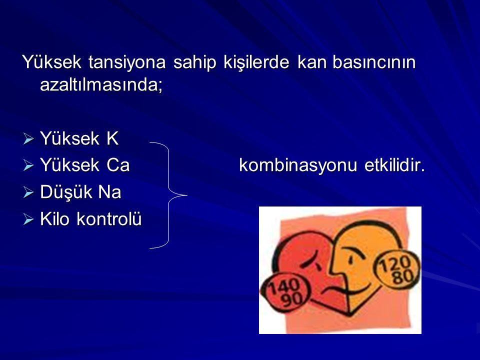 Yüksek tansiyona sahip kişilerde kan basıncının azaltılmasında;