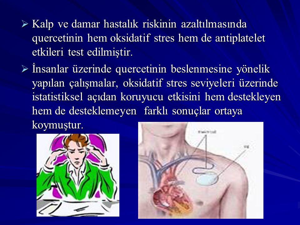 Kalp ve damar hastalık riskinin azaltılmasında quercetinin hem oksidatif stres hem de antiplatelet etkileri test edilmiştir.