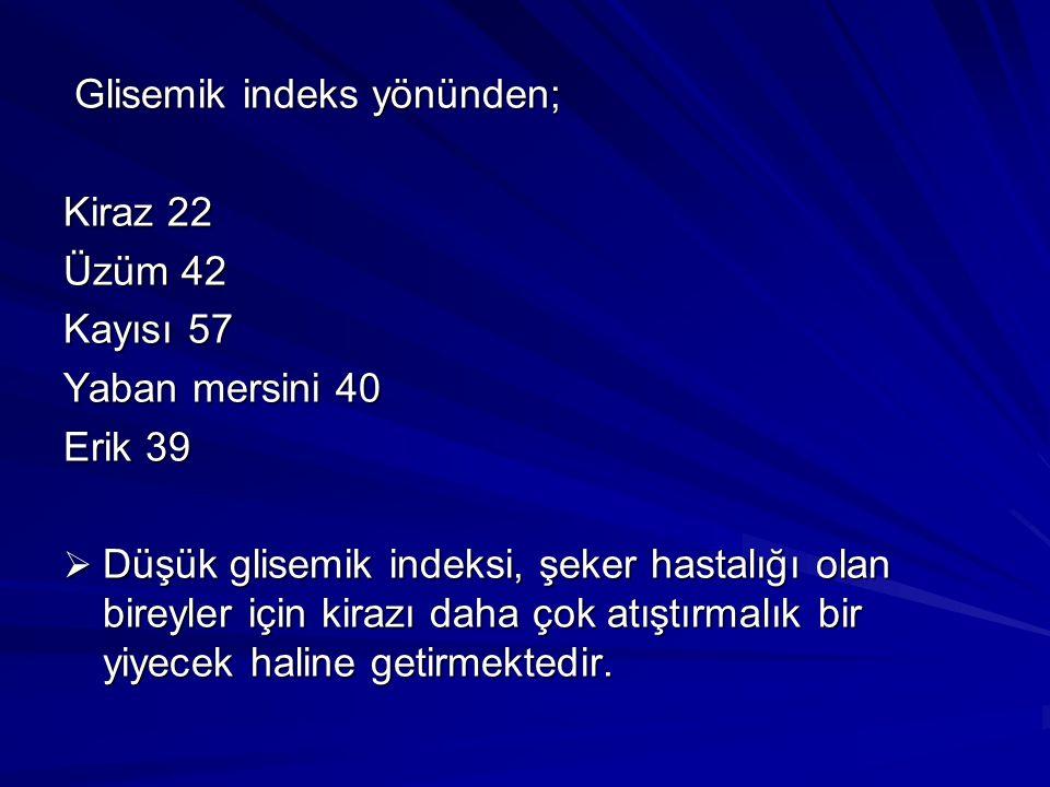 Glisemik indeks yönünden;