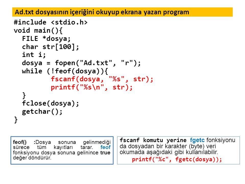 Ad.txt dosyasının içeriğini okuyup ekrana yazan program