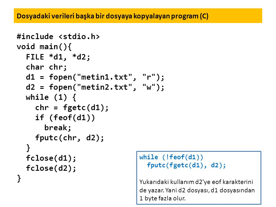 Dosyadaki verileri başka bir dosyaya kopyalayan program (C)