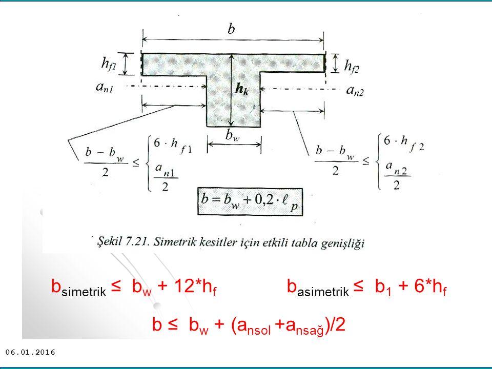 bsimetrik ≤ bw + 12*hf basimetrik ≤ b1 + 6*hf