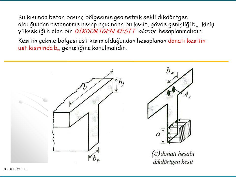 Bu kısımda beton basınç bölgesinin geometrik şekli dikdörtgen olduğundan betonarme hesap açısından bu kesit, gövde genişliği bw, kiriş yüksekliği h olan bir DİKDÖRTGEN KESİT olarak hesaplanmalıdır.