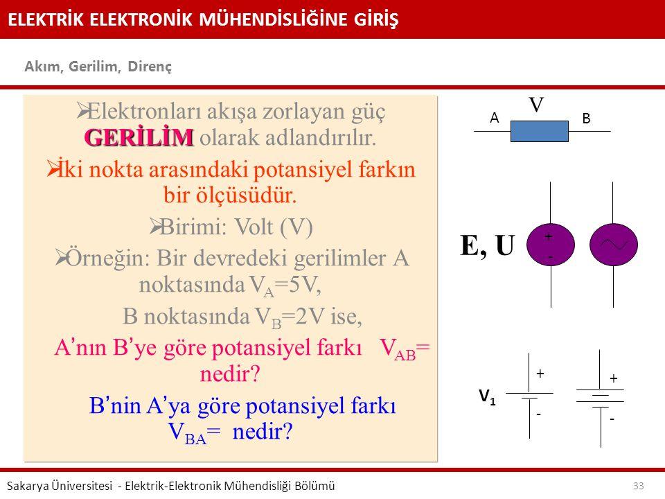E, U Elektronları akışa zorlayan güç GERİLİM olarak adlandırılır.