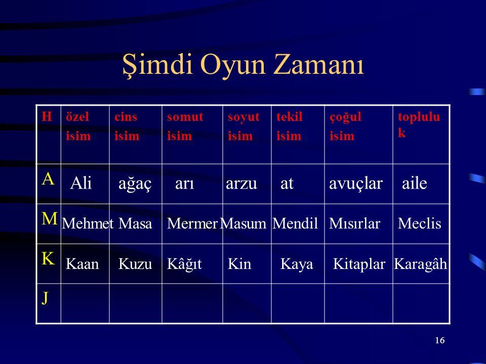 Şimdi Oyun Zamanı A M K J Ali ağaç arı arzu at avuçlar aile Mehmet