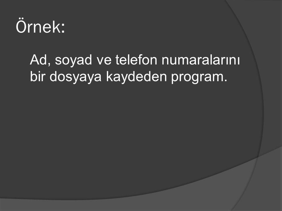 Örnek: Ad, soyad ve telefon numaralarını bir dosyaya kaydeden program.
