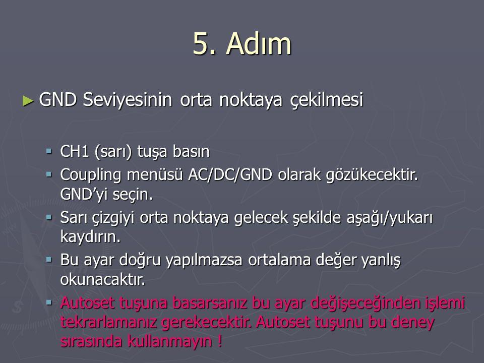 5. Adım GND Seviyesinin orta noktaya çekilmesi CH1 (sarı) tuşa basın