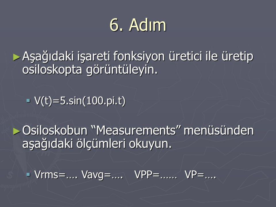 6. Adım Aşağıdaki işareti fonksiyon üretici ile üretip osiloskopta görüntüleyin. V(t)=5.sin(100.pi.t)
