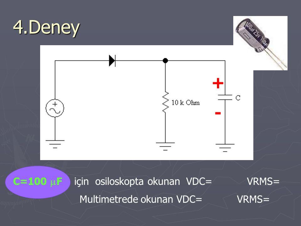 4.Deney + - C=100 mF için osiloskopta okunan VDC= VRMS=