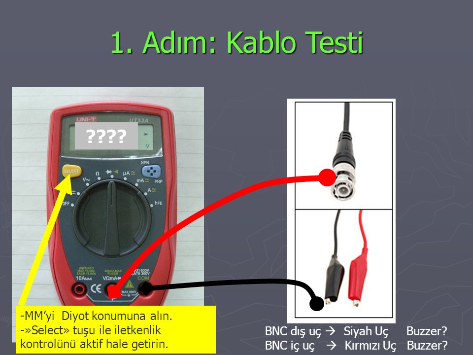 1. Adım: Kablo Testi -MM'yi Diyot konumuna alın.