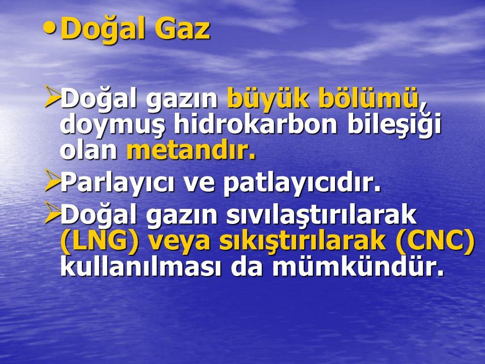 Doğal Gaz Doğal gazın büyük bölümü, doymuş hidrokarbon bileşiği olan metandır. Parlayıcı ve patlayıcıdır.