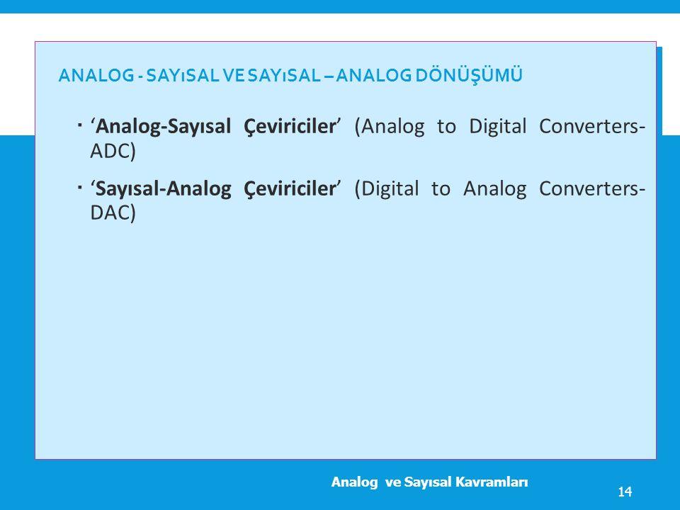 Analog - Sayısal ve Sayısal – Analog Dönüşümü