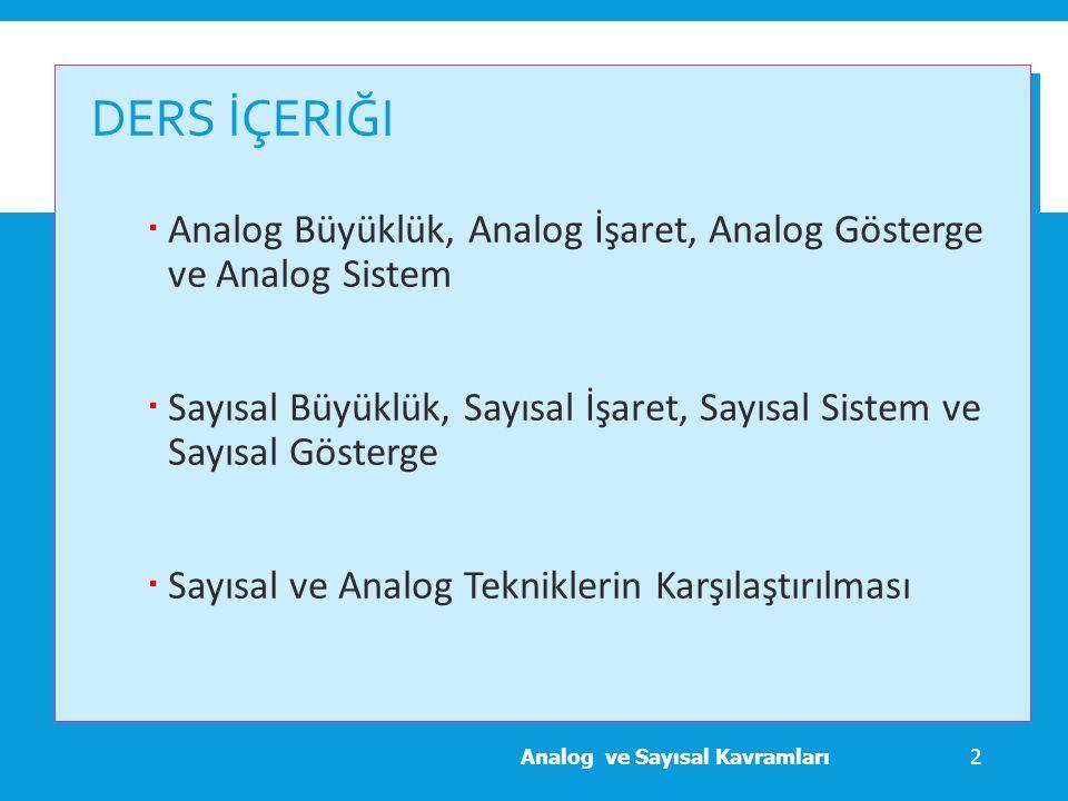 Ders İçeriği Analog Büyüklük, Analog İşaret, Analog Gösterge ve Analog Sistem.