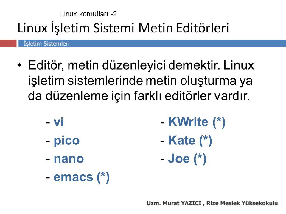 Linux İşletim Sistemi Metin Editörleri