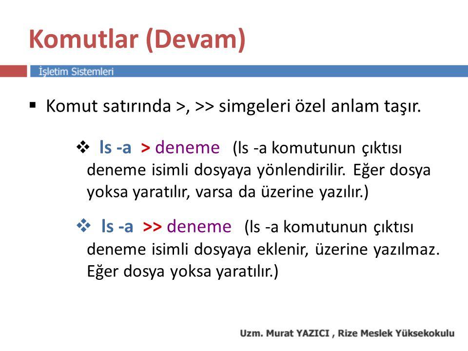 Komutlar (Devam) Komut satırında >, >> simgeleri özel anlam taşır.