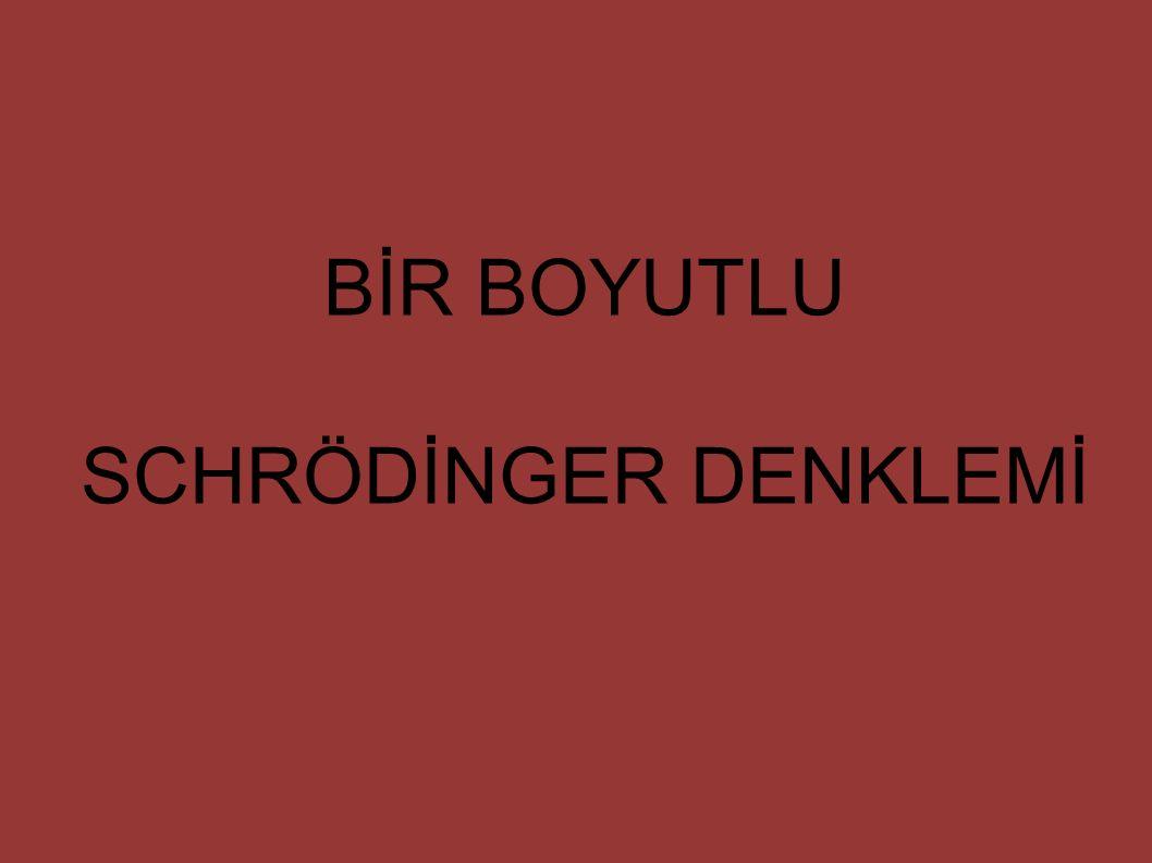 BİR BOYUTLU SCHRÖDİNGER DENKLEMİ
