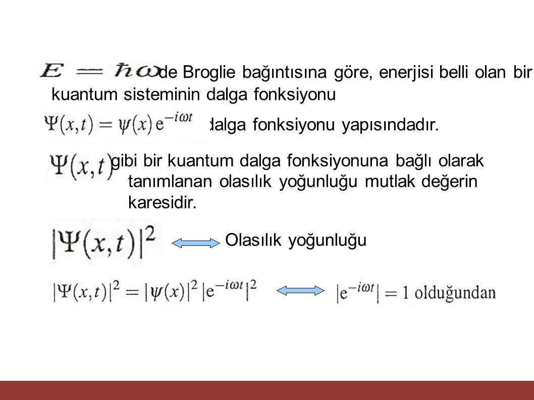 de Broglie bağıntısına göre, enerjisi belli olan bir kuantum sisteminin dalga fonksiyonu