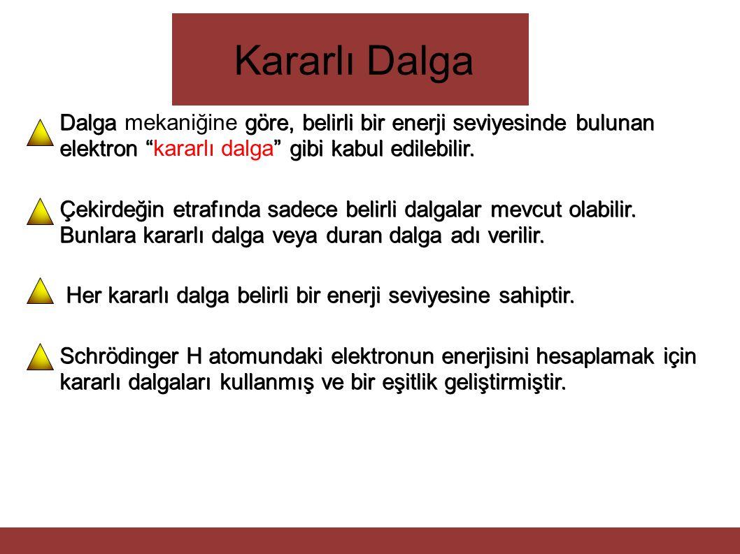 Kararlı Dalga Dalga mekaniğine göre, belirli bir enerji seviyesinde bulunan elektron kararlı dalga gibi kabul edilebilir.