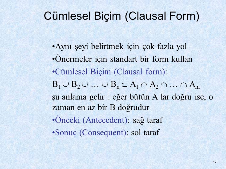 Cümlesel Biçim (Clausal Form)