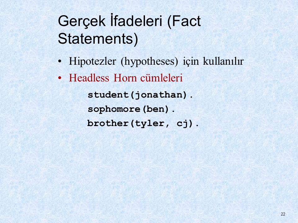 Gerçek İfadeleri (Fact Statements)