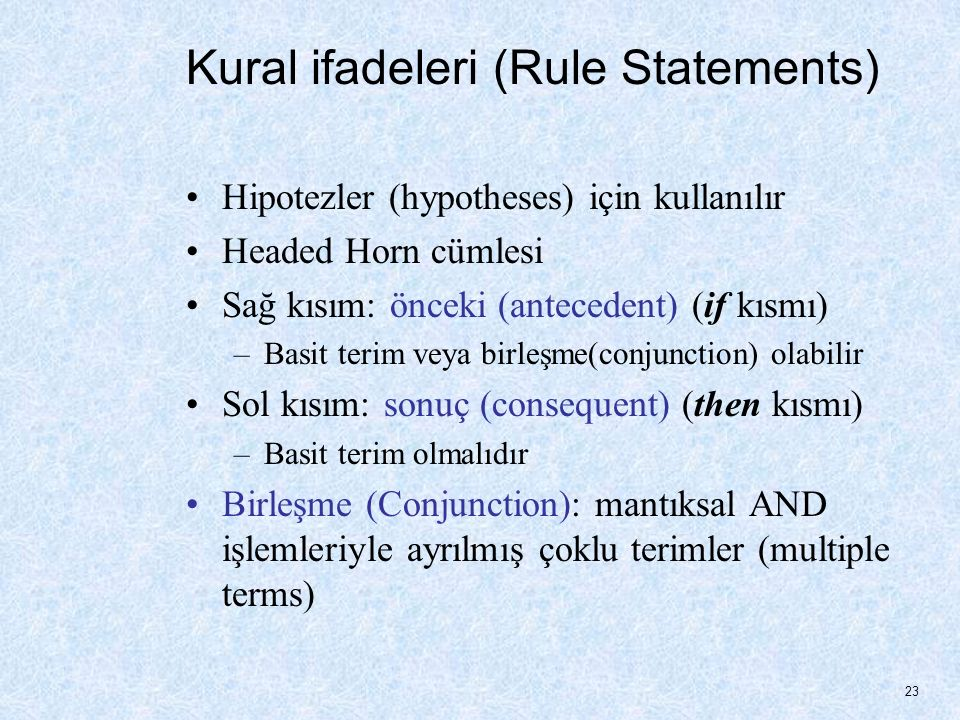 Kural ifadeleri (Rule Statements)