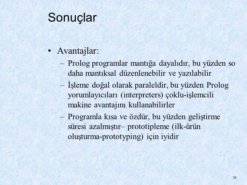 Sonuçlar Avantajlar: Prolog programlar mantığa dayalıdır, bu yüzden so daha mantıksal düzenlenebilir ve yazılabilir.