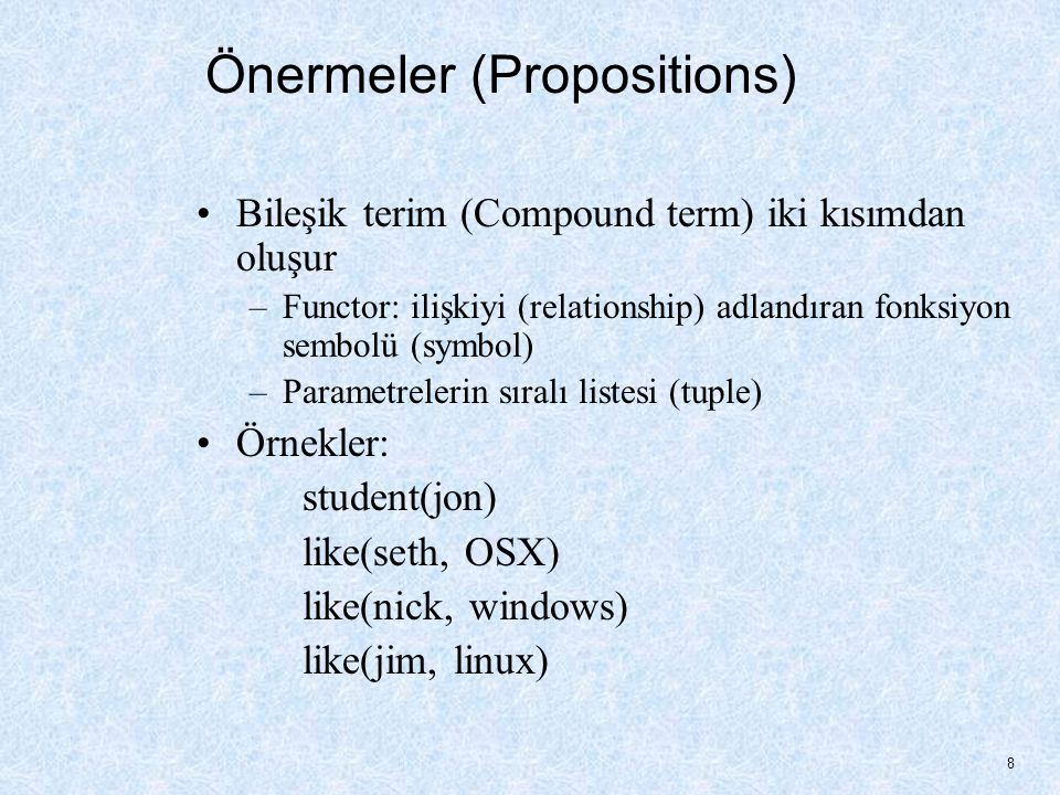 Önermeler (Propositions)