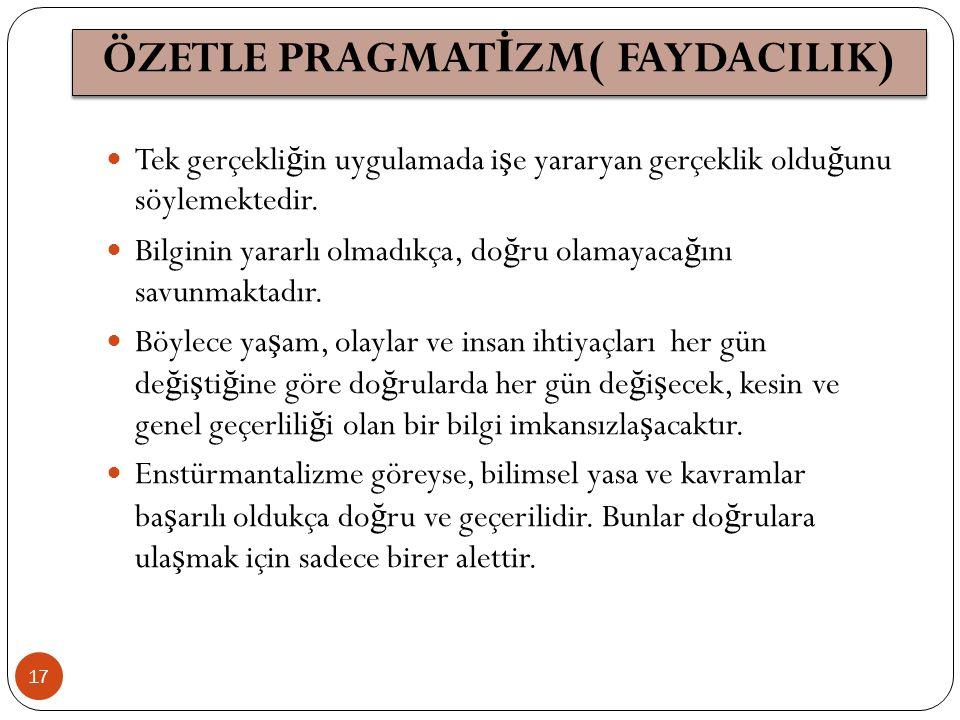 ÖZETLE PRAGMATİZM( FAYDACILIK)