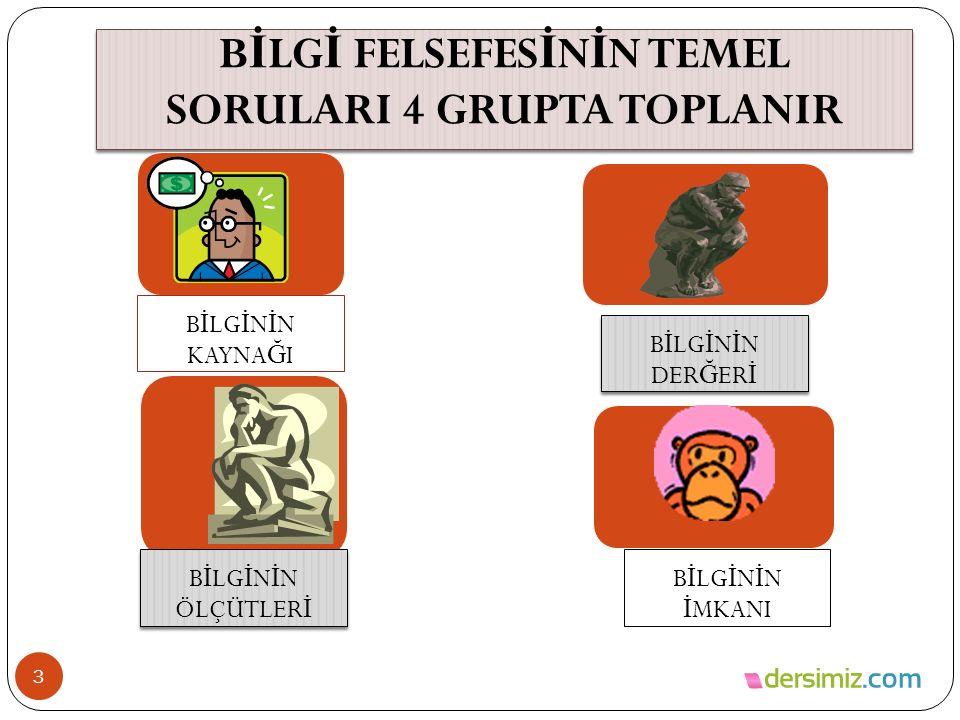 BİLGİ FELSEFESİNİN TEMEL SORULARI 4 GRUPTA TOPLANIR