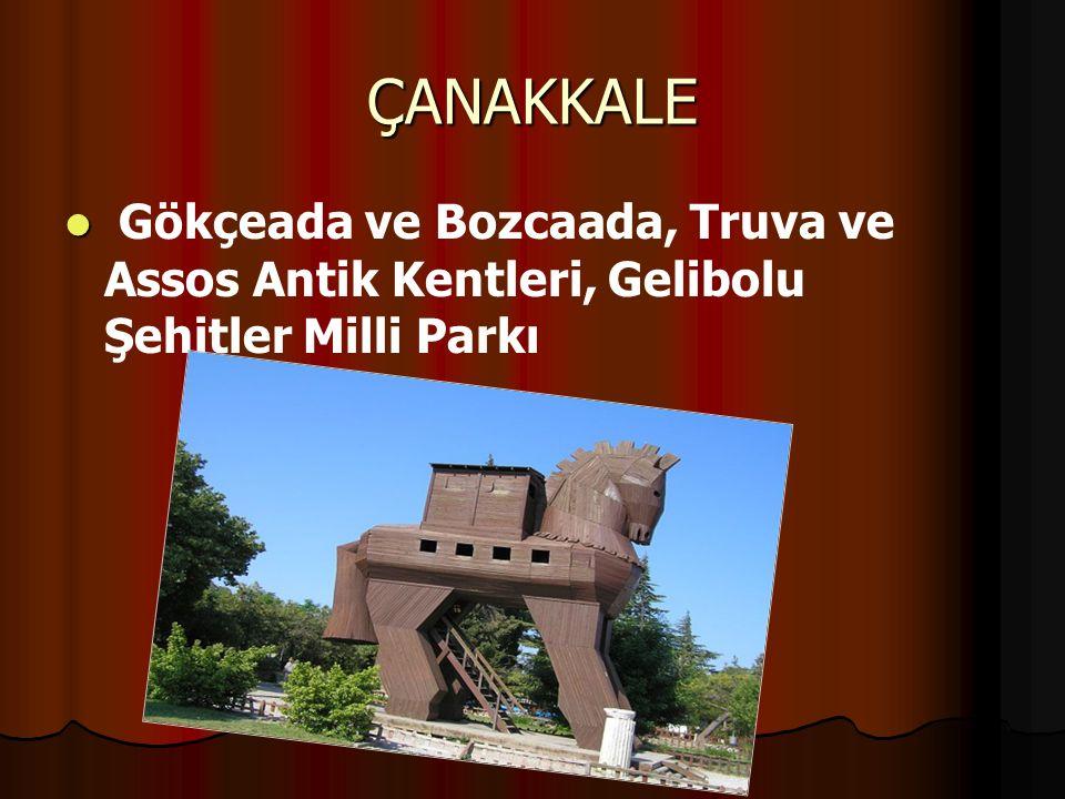 ÇANAKKALE Gökçeada ve Bozcaada, Truva ve Assos Antik Kentleri, Gelibolu Şehitler Milli Parkı