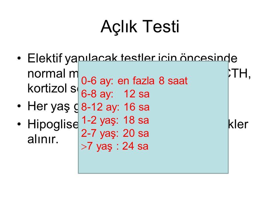 Açlık Testi Elektif yapılacak testler için öncesinde normal metabolik tarama, TFT ve ACTH, kortizol seviyeleri görülmeli.