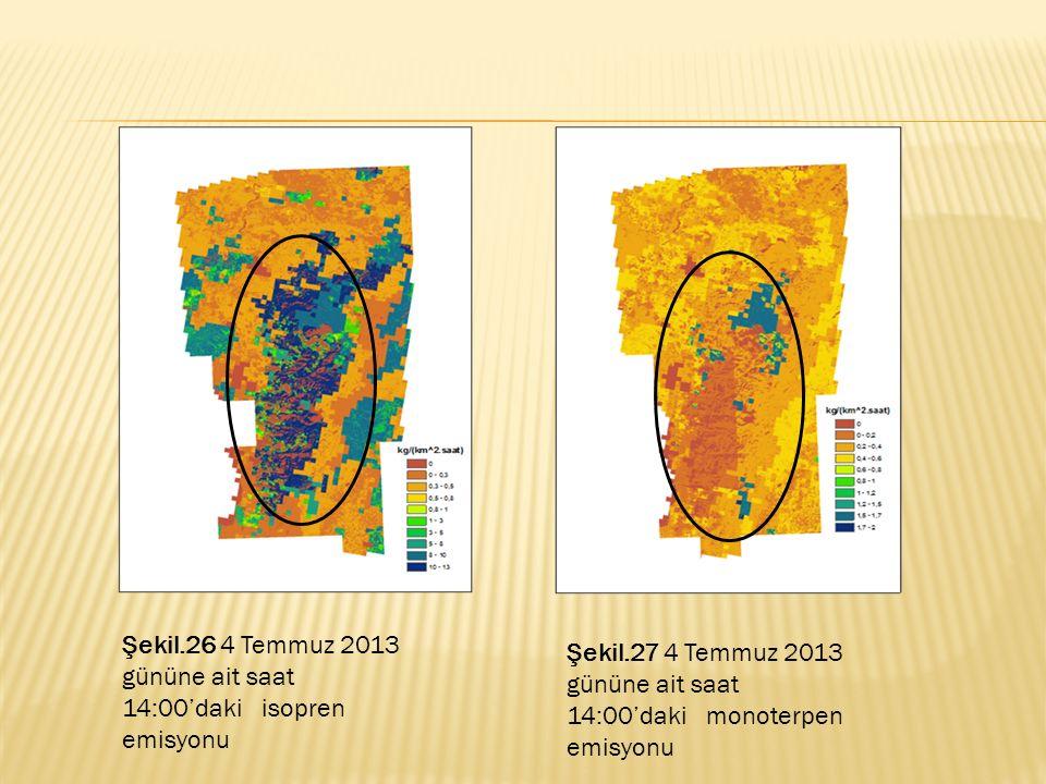 Şekil.26 4 Temmuz 2013 gününe ait saat 14:00'daki isopren emisyonu
