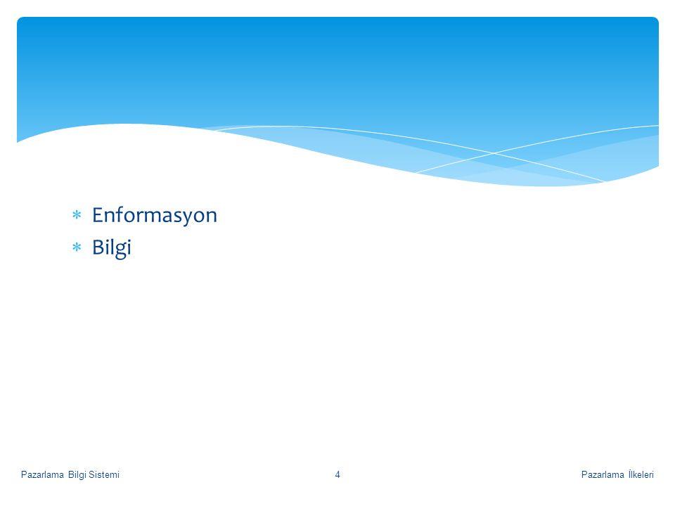 Enformasyon Bilgi Pazarlama Bilgi Sistemi Pazarlama İlkeleri