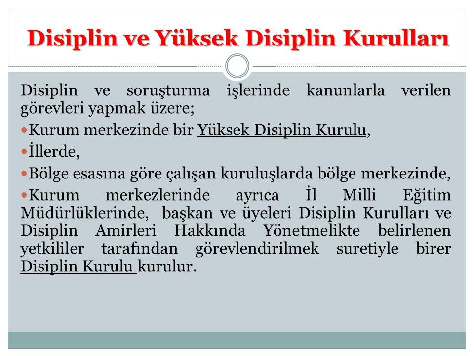 Disiplin ve Yüksek Disiplin Kurulları