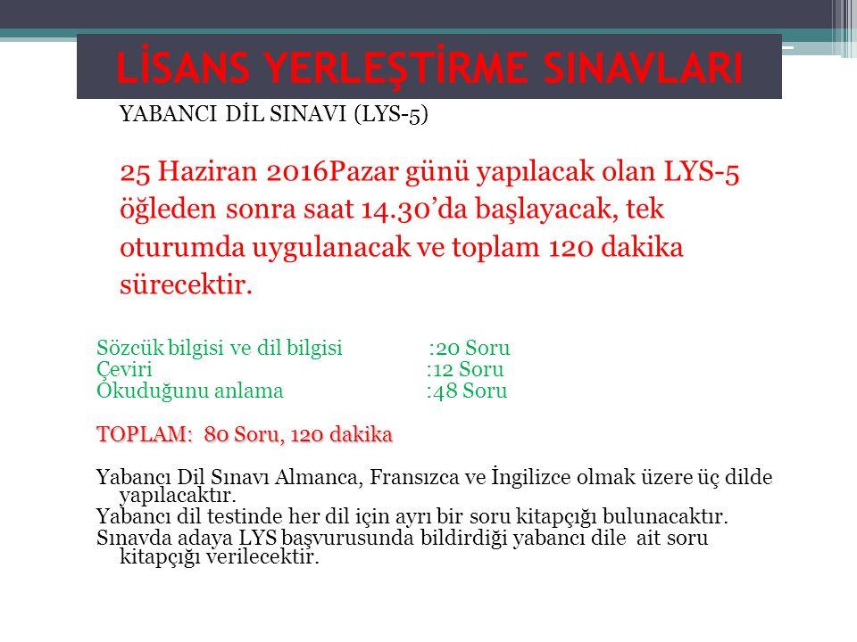 LİSANS YERLEŞTİRME SINAVLARI