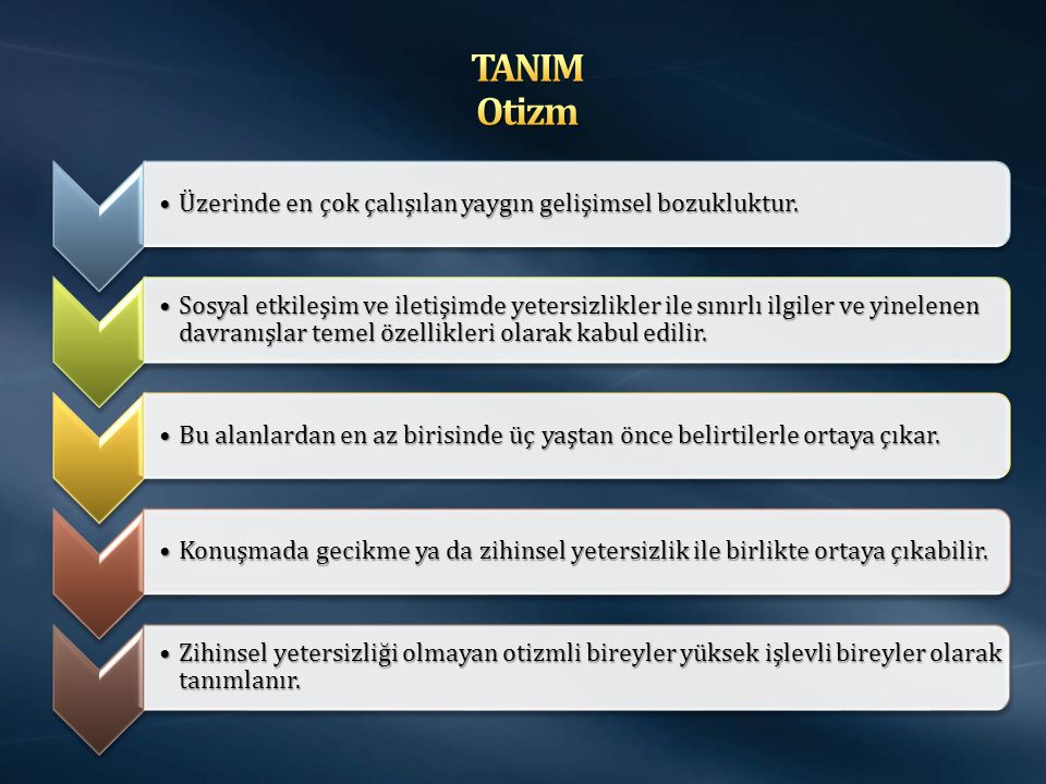 TANIM Otizm Üzerinde en çok çalışılan yaygın gelişimsel bozukluktur.