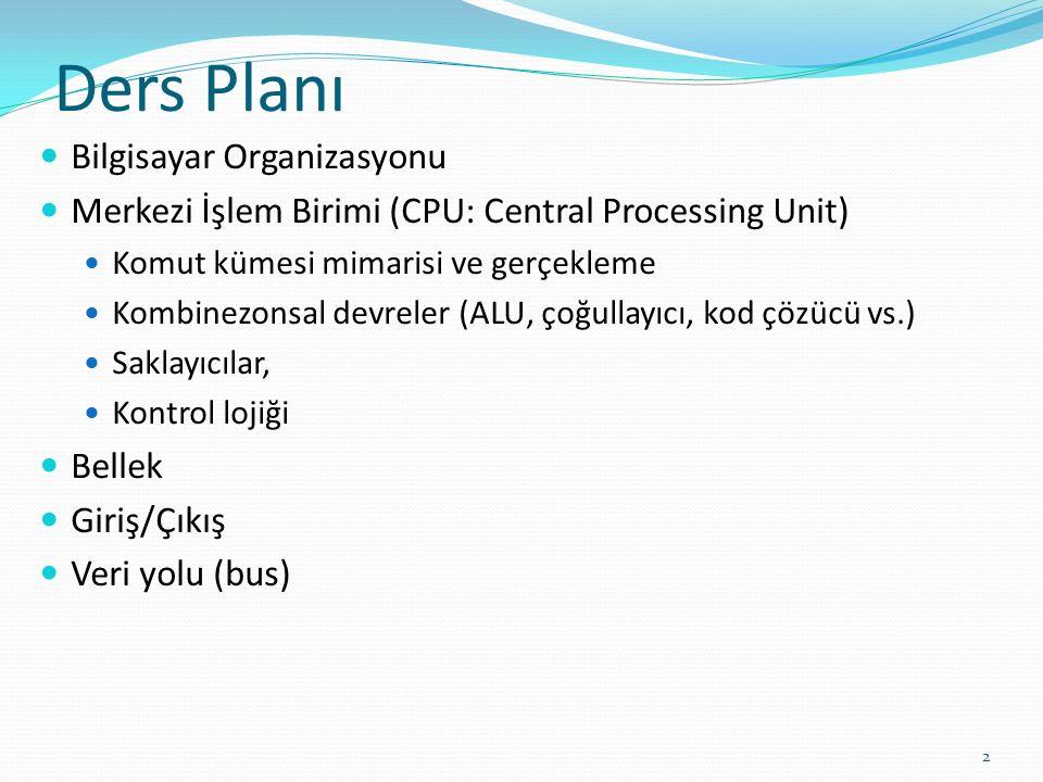 Ders Planı Bilgisayar Organizasyonu