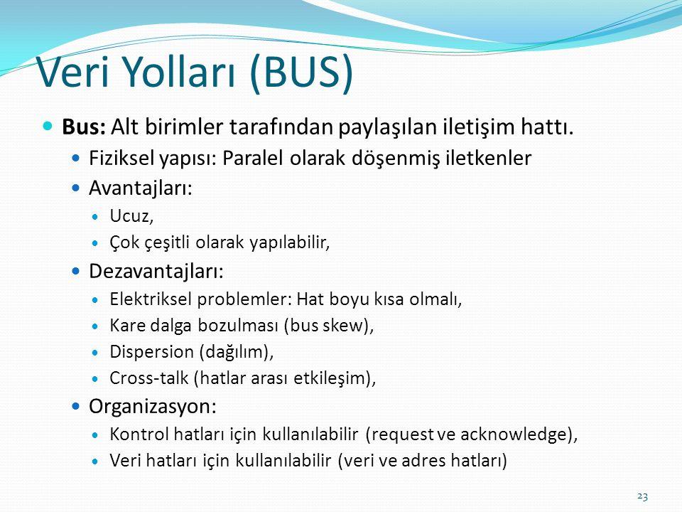 Veri Yolları (BUS) Bus: Alt birimler tarafından paylaşılan iletişim hattı. Fiziksel yapısı: Paralel olarak döşenmiş iletkenler.