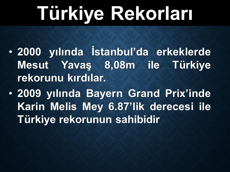 Türkiye Rekorları 2000 yılında İstanbul'da erkeklerde Mesut Yavaş 8,08m ile Türkiye rekorunu kırdılar.