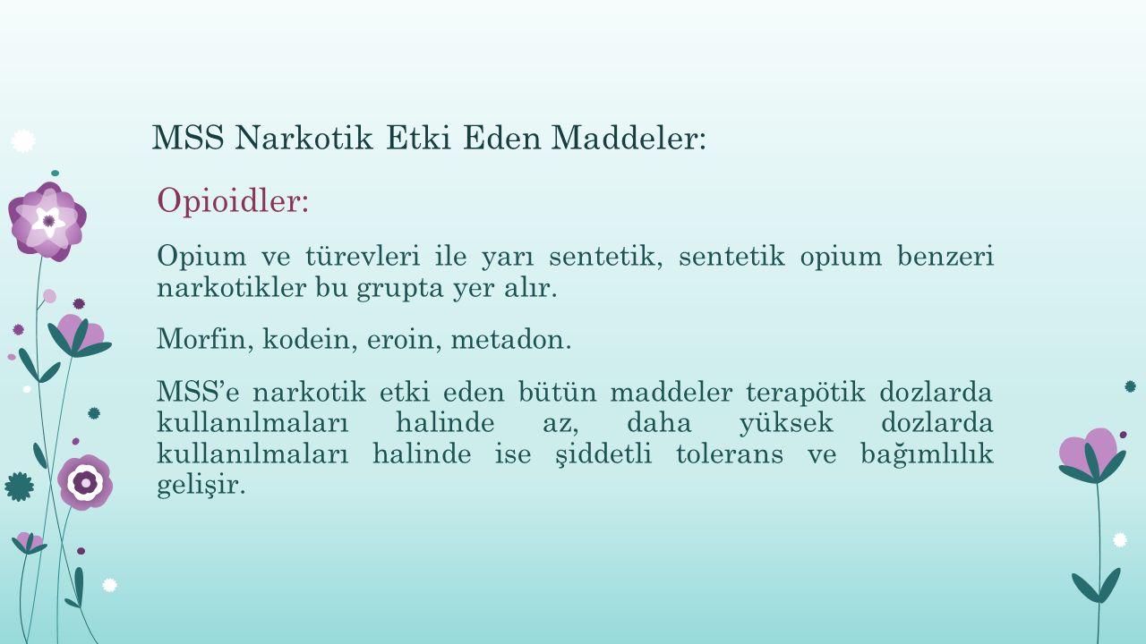MSS Narkotik Etki Eden Maddeler: