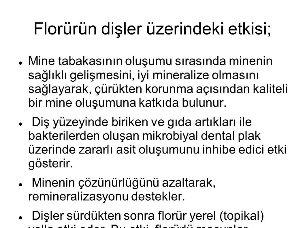 Florürün dişler üzerindeki etkisi;