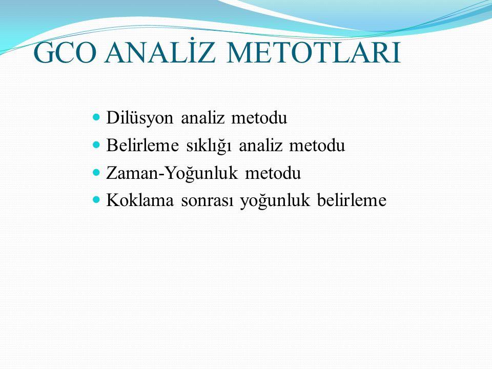 GCO ANALİZ METOTLARI Dilüsyon analiz metodu