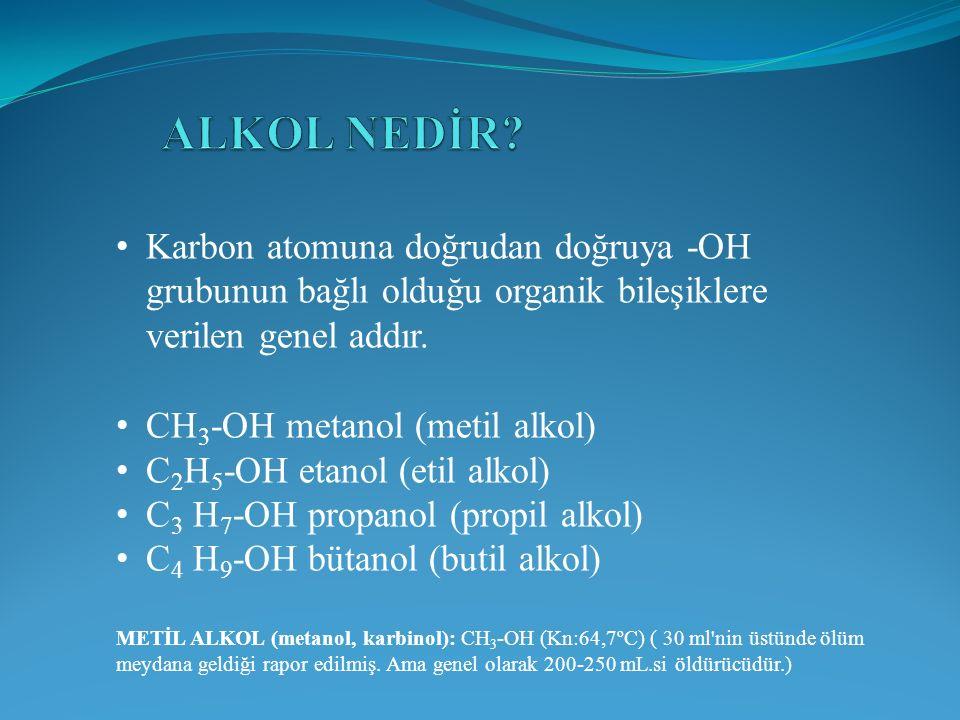 ALKOL NEDİR Karbon atomuna doğrudan doğruya -OH grubunun bağlı olduğu organik bileşiklere verilen genel addır.