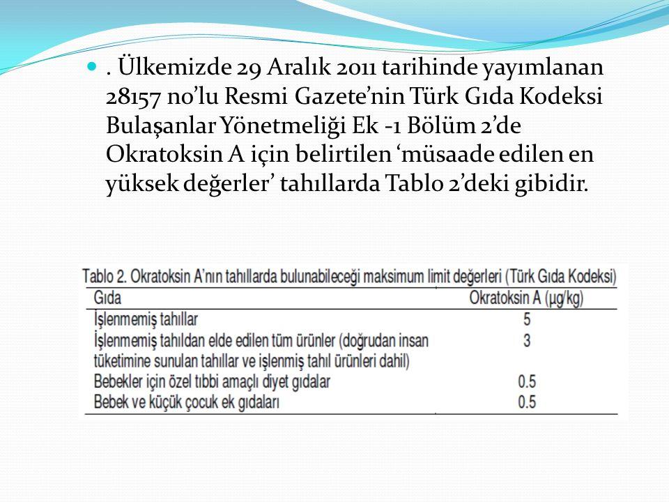 . Ülkemizde 29 Aralık 2011 tarihinde yayımlanan 28157 no'lu Resmi Gazete'nin Türk Gıda Kodeksi Bulaşanlar Yönetmeliği Ek -1 Bölüm 2'de Okratoksin A için belirtilen 'müsaade edilen en yüksek değerler' tahıllarda Tablo 2'deki gibidir.