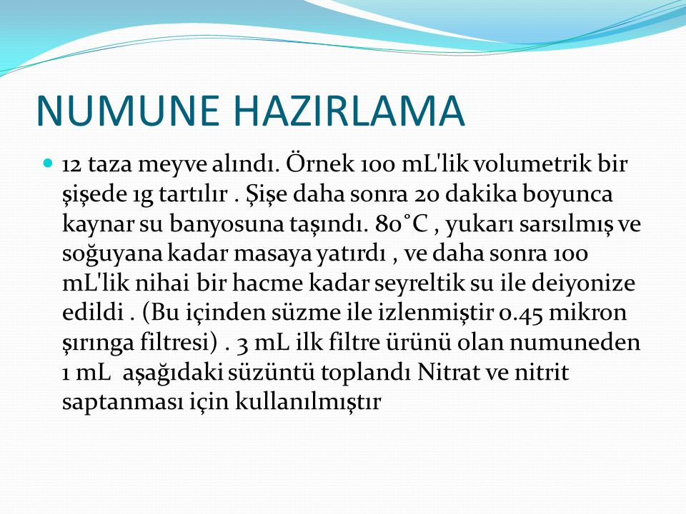 NUMUNE HAZIRLAMA