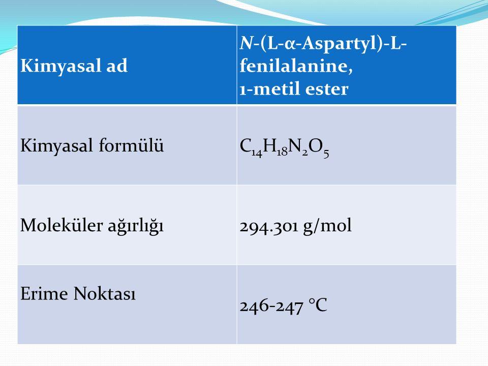 Kimyasal ad N-(L-α-Aspartyl)-L-fenilalanine, 1-metil ester. Kimyasal formülü. C14H18N2O5. Moleküler ağırlığı.