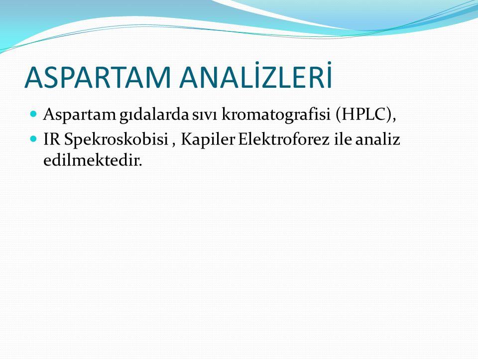 ASPARTAM ANALİZLERİ Aspartam gıdalarda sıvı kromatografisi (HPLC),