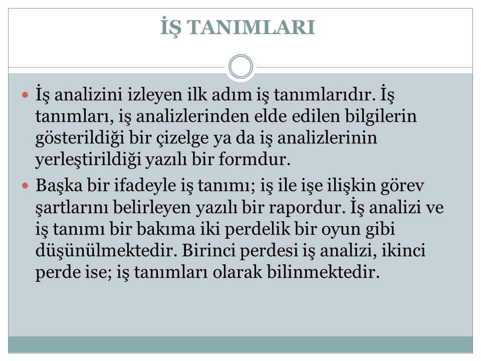 İŞ TANIMLARI