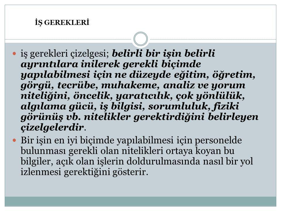 İŞ GEREKLERİ