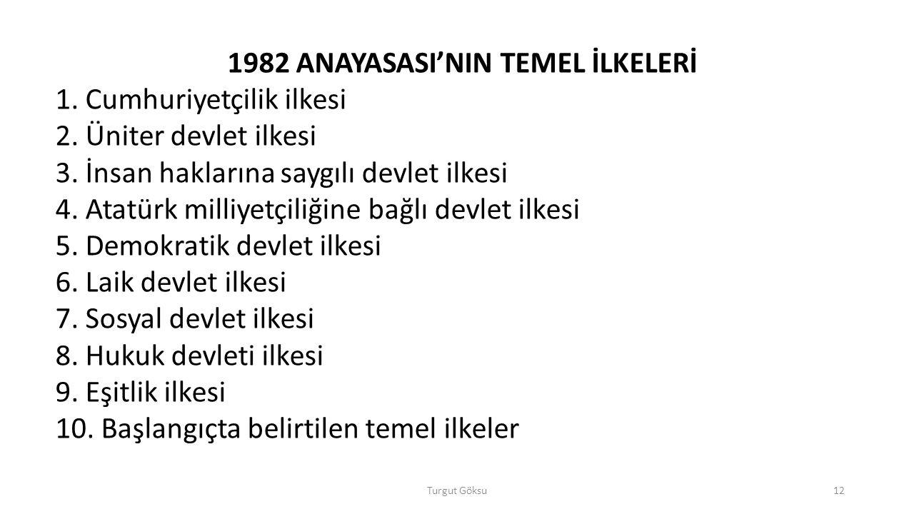 1982 ANAYASASI'NIN TEMEL İLKELERİ
